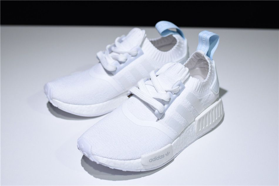 CQ2040 Adidas NMD R1 Primeknit Women Shoes WhiteBlue Tint