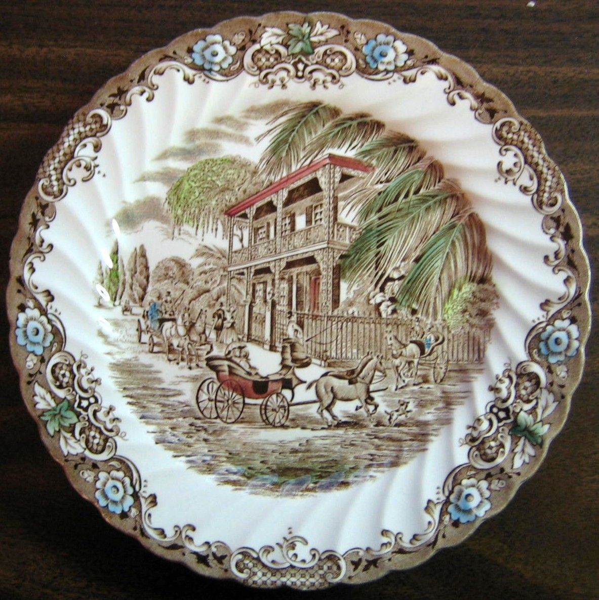 Brown Toile Hand Colored New Orleans French Provincial Horse Dog Mansion Plate & Brown Toile Hand Colored New Orleans French Provincial Horse Dog ...