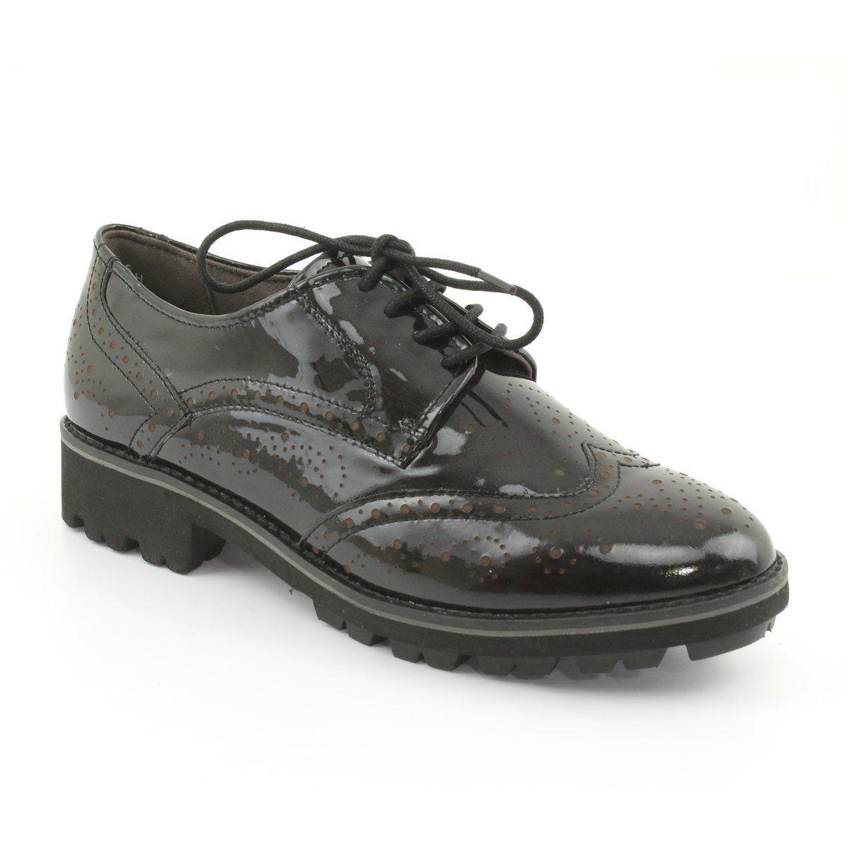 Oksfordki Polbuty Sznurowane Caprice 23701 Czarne Wielokolorowe Oxford Shoes Women Shoes Shoes