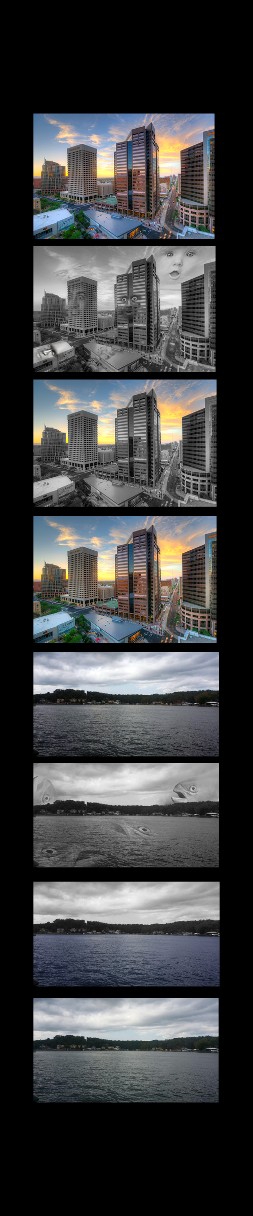 """Created By: Joseph Luley - For: Digital Art Studio FA2016 SCC - Project Two """" """"Dreamscapes""""-  Each Students were required to make four specific alterations to a single photo of their choosing, and an addition fifth photo with their own alterations of their liking. In My case, a City And a Lake."""