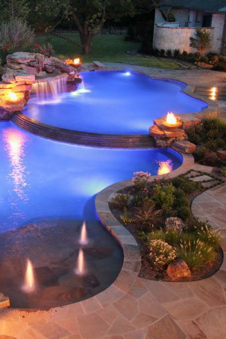 Although They Are Mainly Used During The Day Home Pools Are More Beautiful At Night Especi Backyard Pool Landscaping Backyard Pool Designs Pool Patio Designs