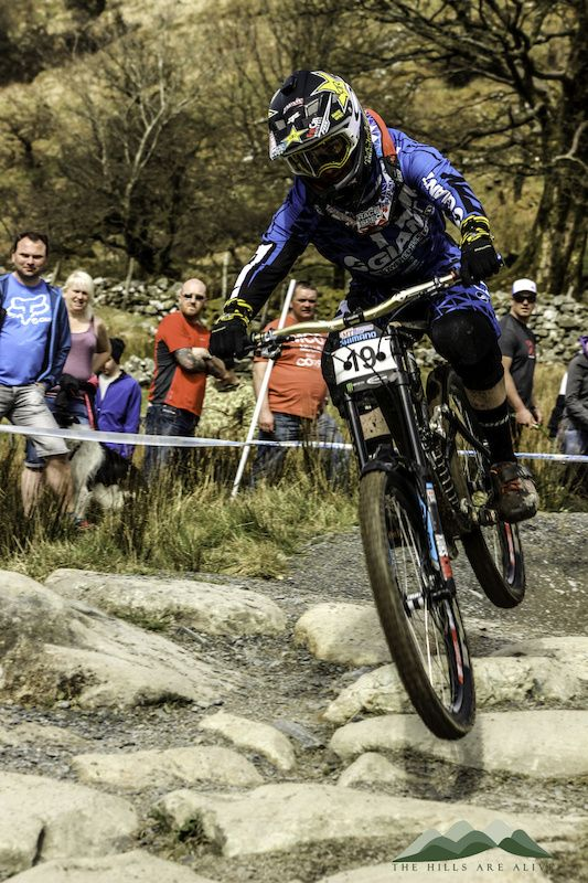 d08ee40e4da Photo of Danny Hart in Antur Stiniog for first round of the 2014 British  downhill series