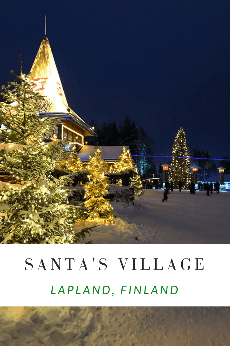 Santa Claus village in Finland.  Check out our Lapland with kids guide featuring a winter wonderful Lapland Vacation at the Santa Claus Village in Rovaniemi, Finland. Dog sledding, reindeer sleighs, aurora borealis and more!