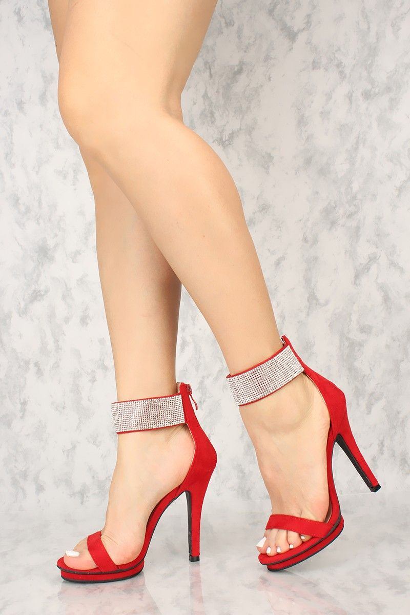 d4743c50c20 Sexy Red Rhinestone Ankle Strap Single Sole High Heels Faux Suede ...