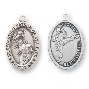 Saint sebastian oval sterling silver martial arts athlete medal aloadofball Images
