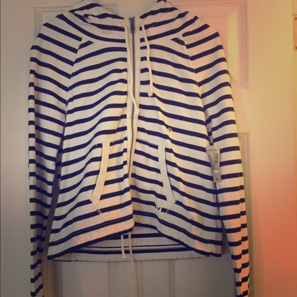 Stripped Sailor Jacket with Hood Navy and White Striped Sailor Jacket with Hood, Size Medium American Eagle Outfitters Jackets & Coats