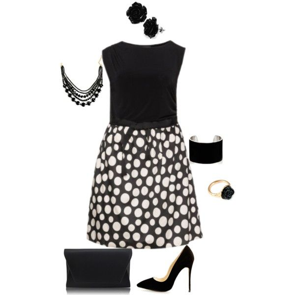 A fashion look from March 2015 featuring dot dress, stiletto heel pumps and leather envelope clutch. Browse and shop related looks.