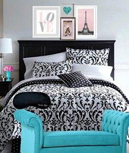 Classic Black & White QUEEN Damask Comforter, Shams, Sheets, Bedskirt & Home Style Brand Sleep Mask (9 Piece Bedding Set) (Queen)