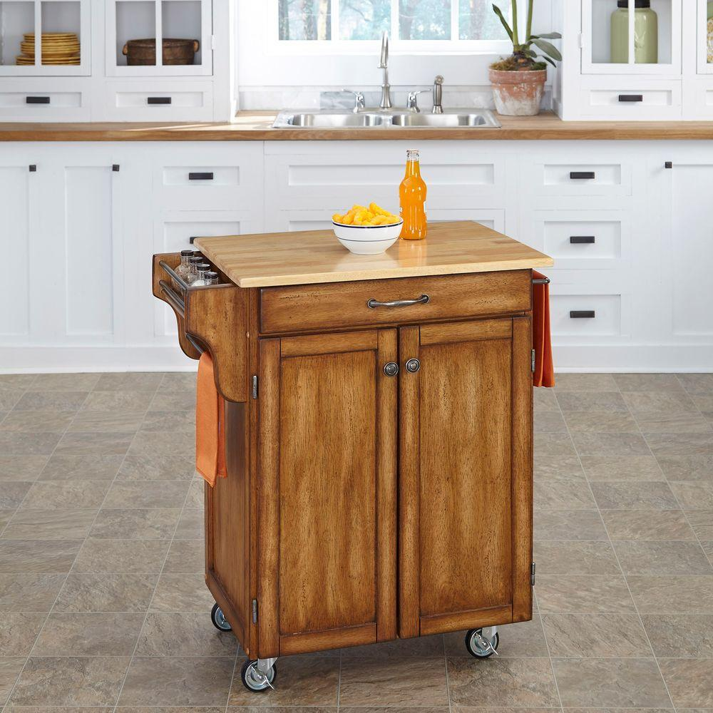 HOMESTYLES Create-a-Cart Warm Oak Kitchen Cart With Natural ...