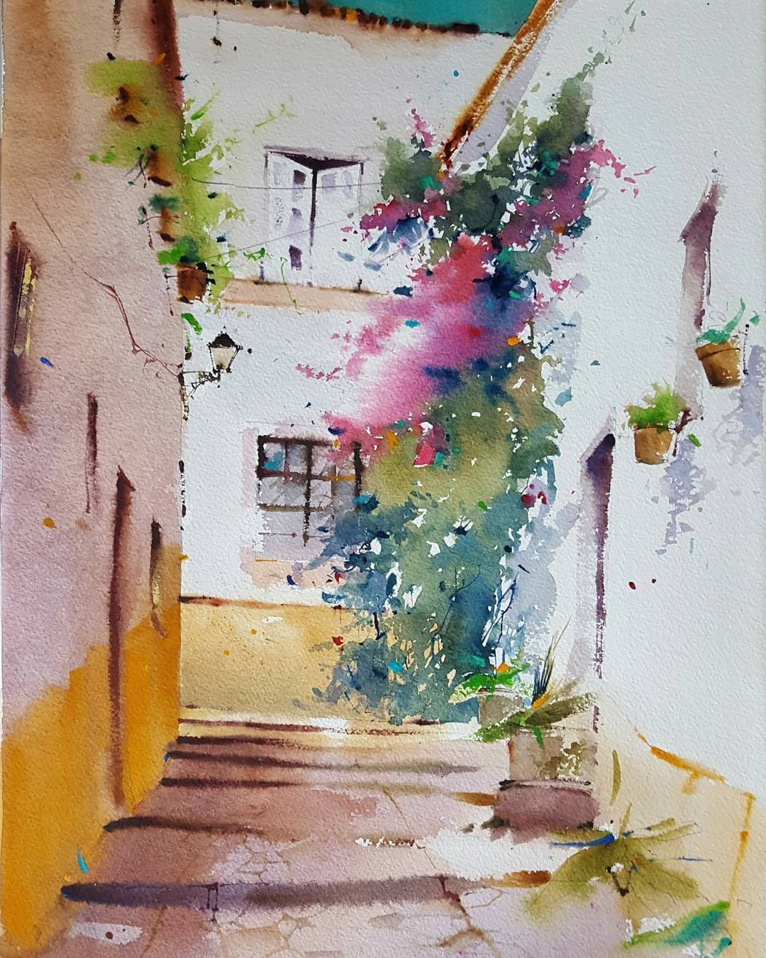 Calle De Portugal Acuarela S Papel 55x36 Cm Watercolor Aquarelle