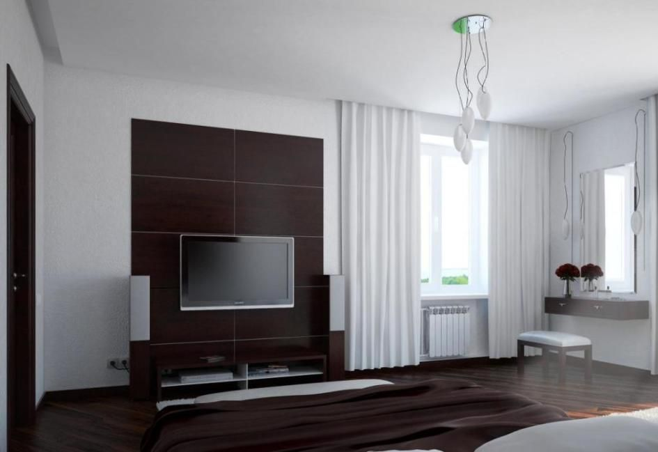 Making Interesting Your Room with Corner Glass Window Decoration Ideas : Winsome Bedroom Interior Design With Glass Window Corner Setup Beside Simple Dresser As Well Unique Pendant Lamp And Tv Unit In Black Wall Mounted