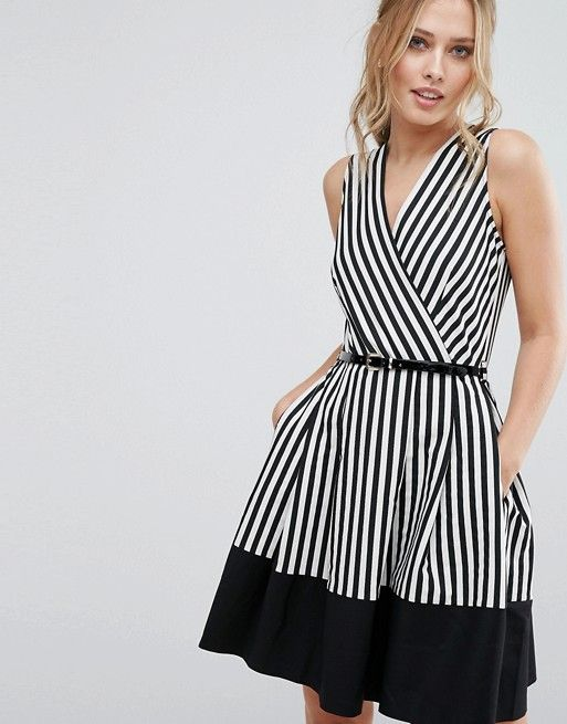 4a2a25df4fc Closet Wrap Front Skater Dress in Stripe with Belt