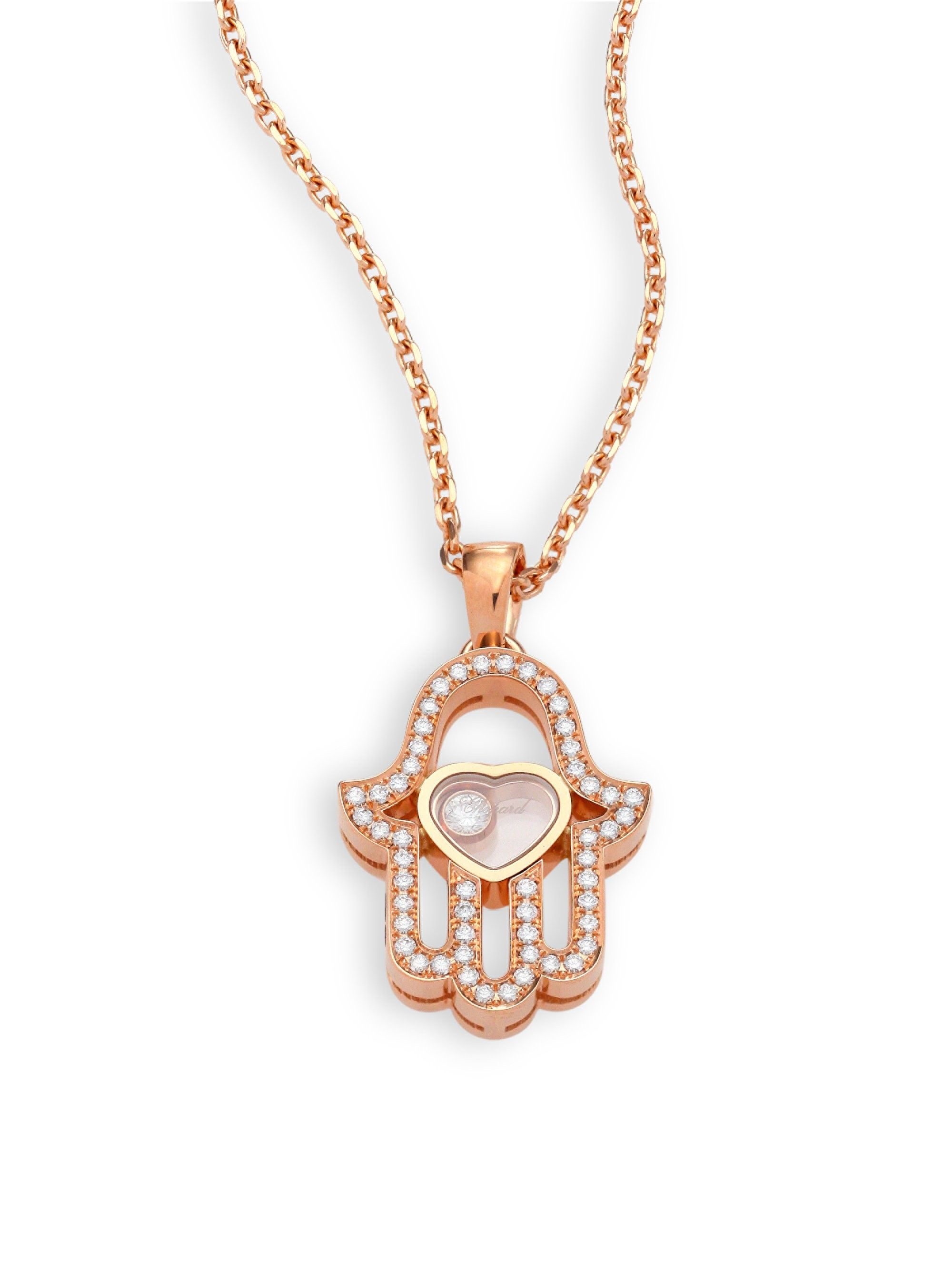 f17da9c3a Chopard Happy Diamonds Pave Hamsa Hand Diamond & 18K Rose Gold Pendant  Necklace - One Size