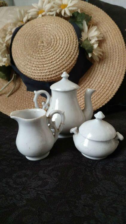 3 PC Toy Ironstone White Creamer Sugar Teapot Victorian Play Set
