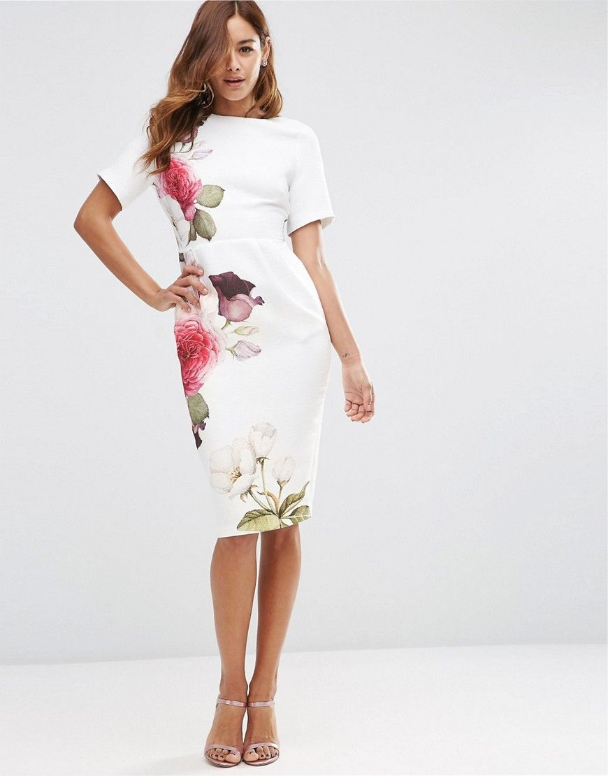 Image 1 of ASOS Wiggle Dress in Placement Rose Print | Style ...