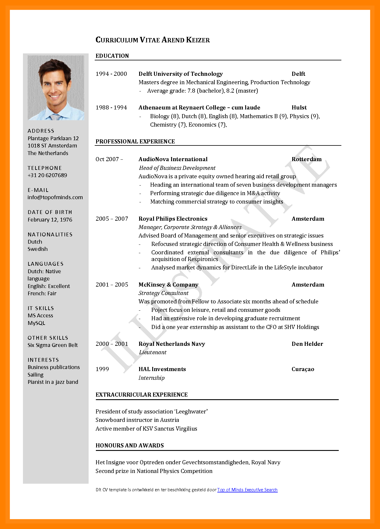 Cv Template Job Application Curriculum Vitae Format Sample