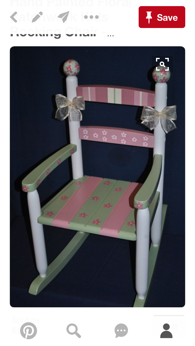Items Similar To Childrens Custom Hand Painted Floral Patchwork Kids  Rocking Chair   Baby Shower Gift, Nursery Furniture, Painted Child Chair,  ...
