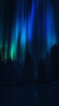 Aurora Night Sky Dark Blue Nature Art iPhone 6 wallpaper