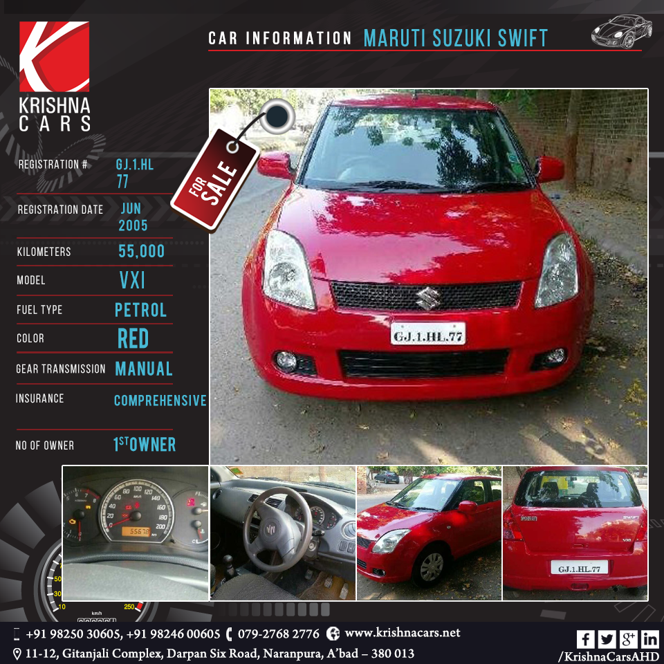 used-Car for sale CAR INFORMATION - Maruti Suzuki Swift REGISTRATION ...