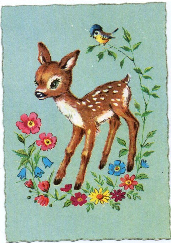 Vintage Birthday Card With Deer And Flowers Vintage Greeting Cards