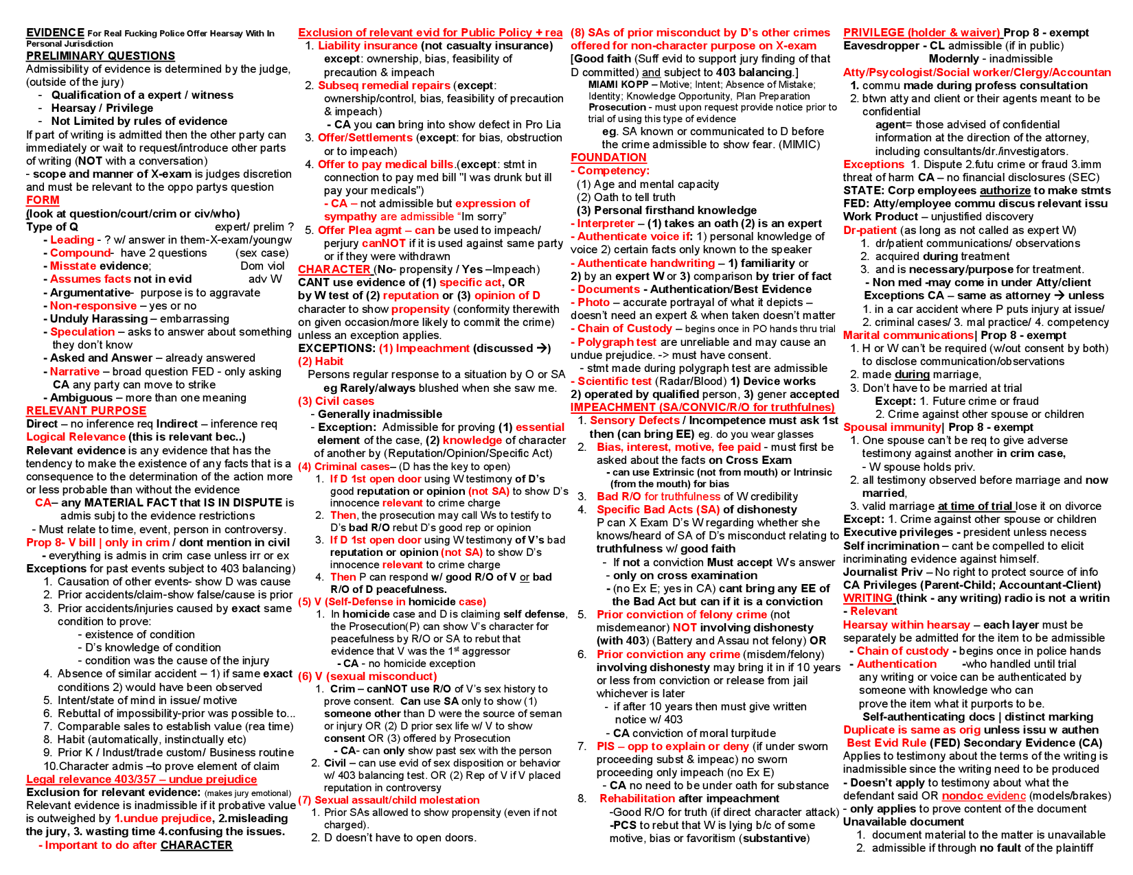 One page Law School & Bar Exam Evidence Law Outline Law