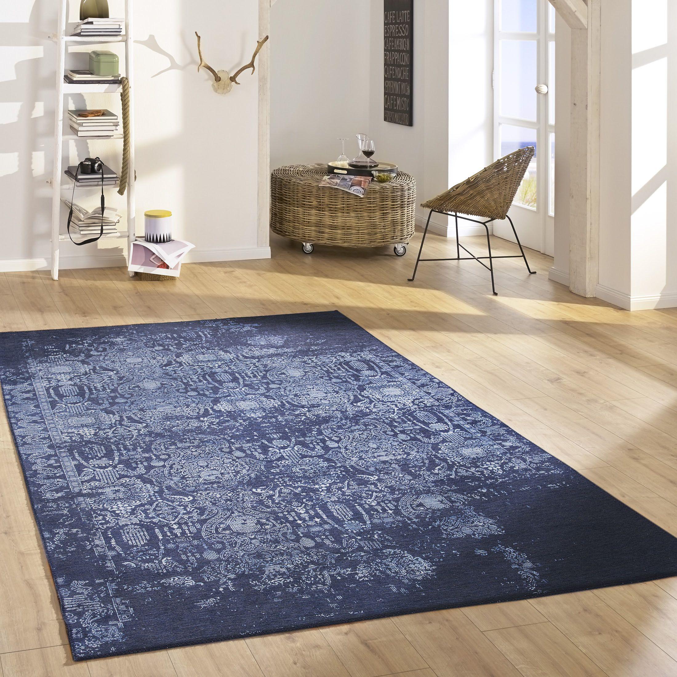 Escape Vintage Teppich Von Kibek In Blau 80 X 150 Cm Aus Baumwolle Traditioneller Look Neu Interpretiert Vintage Teppiche Teppich Moderne Teppiche