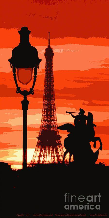 Paris Tour Eiffel Red Photograph
