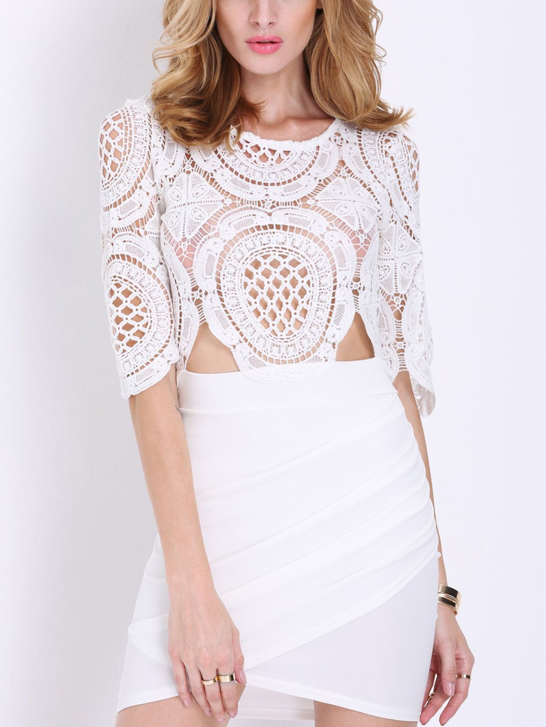 Shop White Half Sleeve Lace Bodycon Dress online. SheIn offers White ...