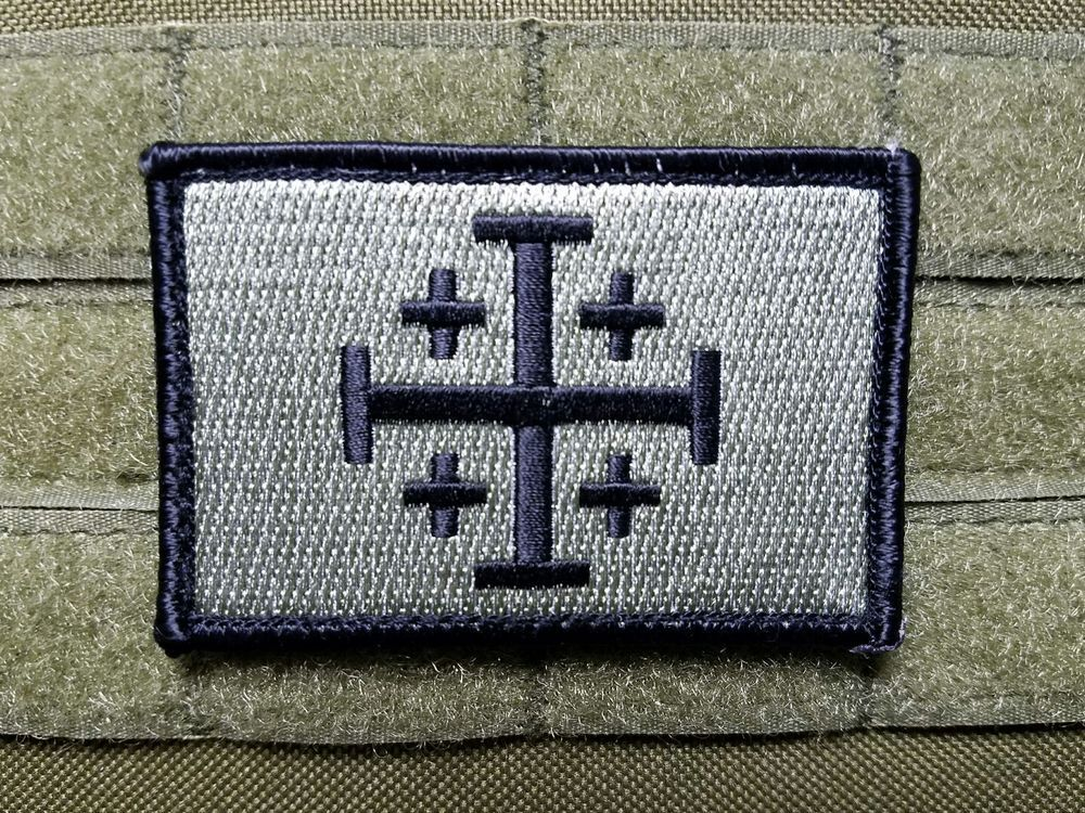 Jerusalem Cross Crusader TACTICAL AIRSOFT MORALE EMBROIDERED Hook /& Loop PATCH