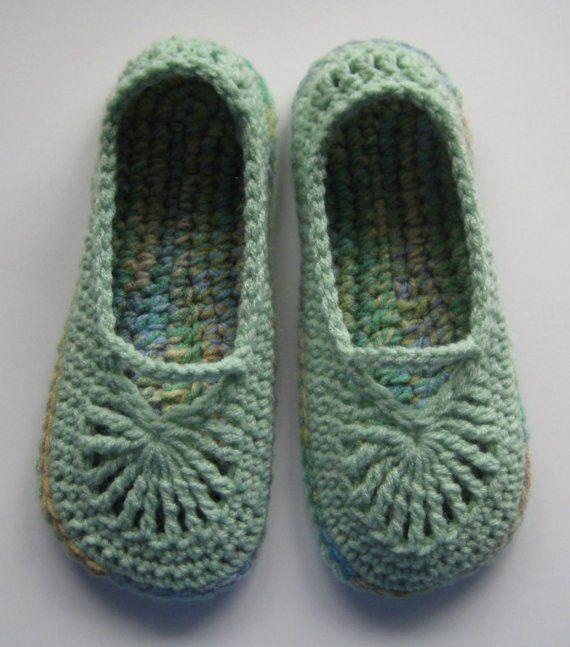 Crochet Mary Jane Slippers Skimmers Honeydew/Sea Grass por buyhand ...