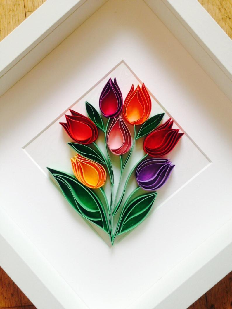 Tulips Quilling Wall Paper Art Mixed Media Art Home Decor Mothers Day Gift Uniqe Gift Paper Anniversary Gift 3d Wall Decor Quilled Flowers Quilling Designs Paper Quilling Patterns Quilling Techniques