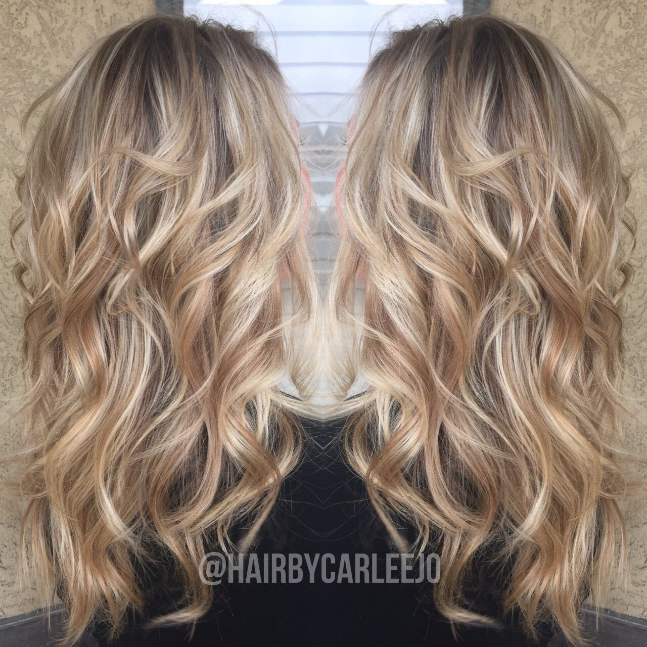 Long Blonde Wavy Hair Blonde Dimension Highlights Lowlights