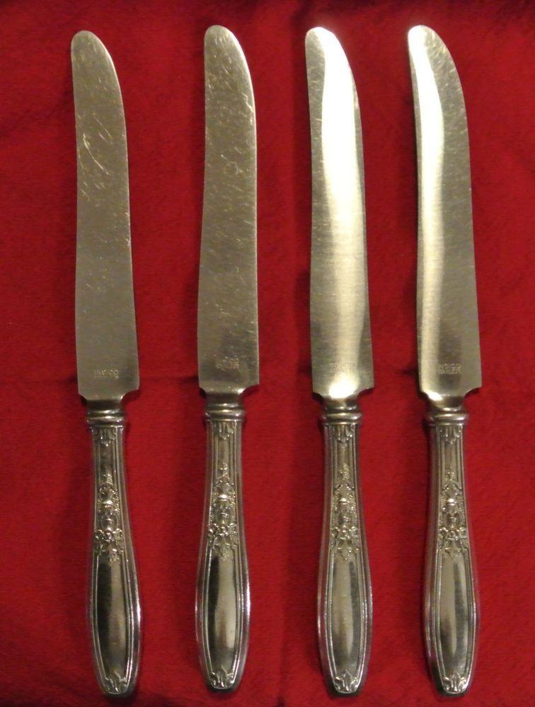 4 Dinner Knives 1847 Rogers Bros Silver Plated Ambassador