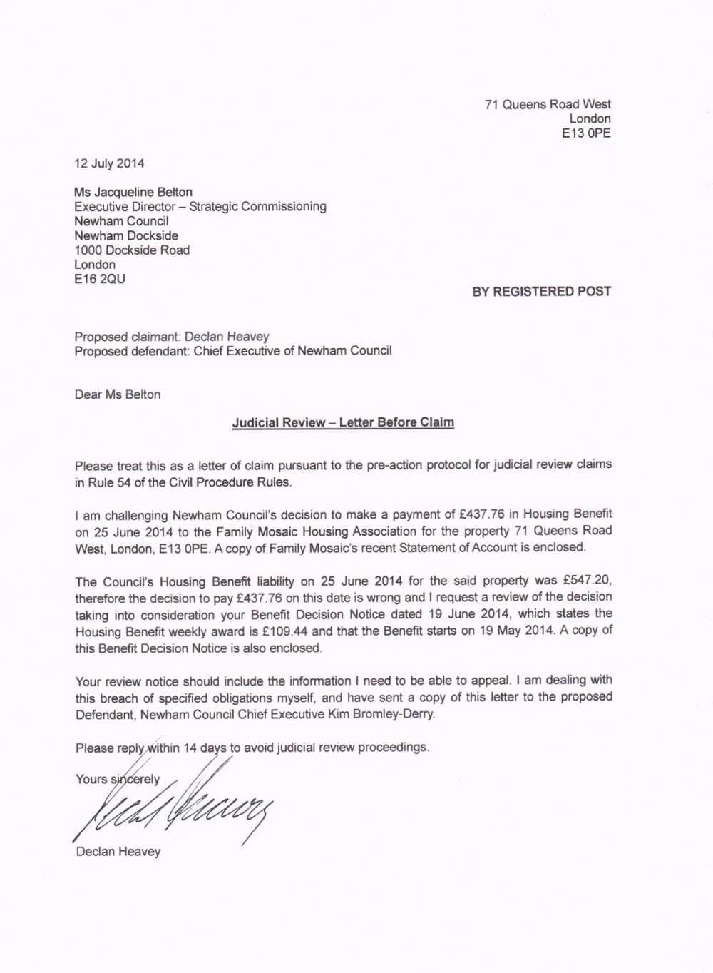 Letter To Councillor Template Humman Inside Pre Action