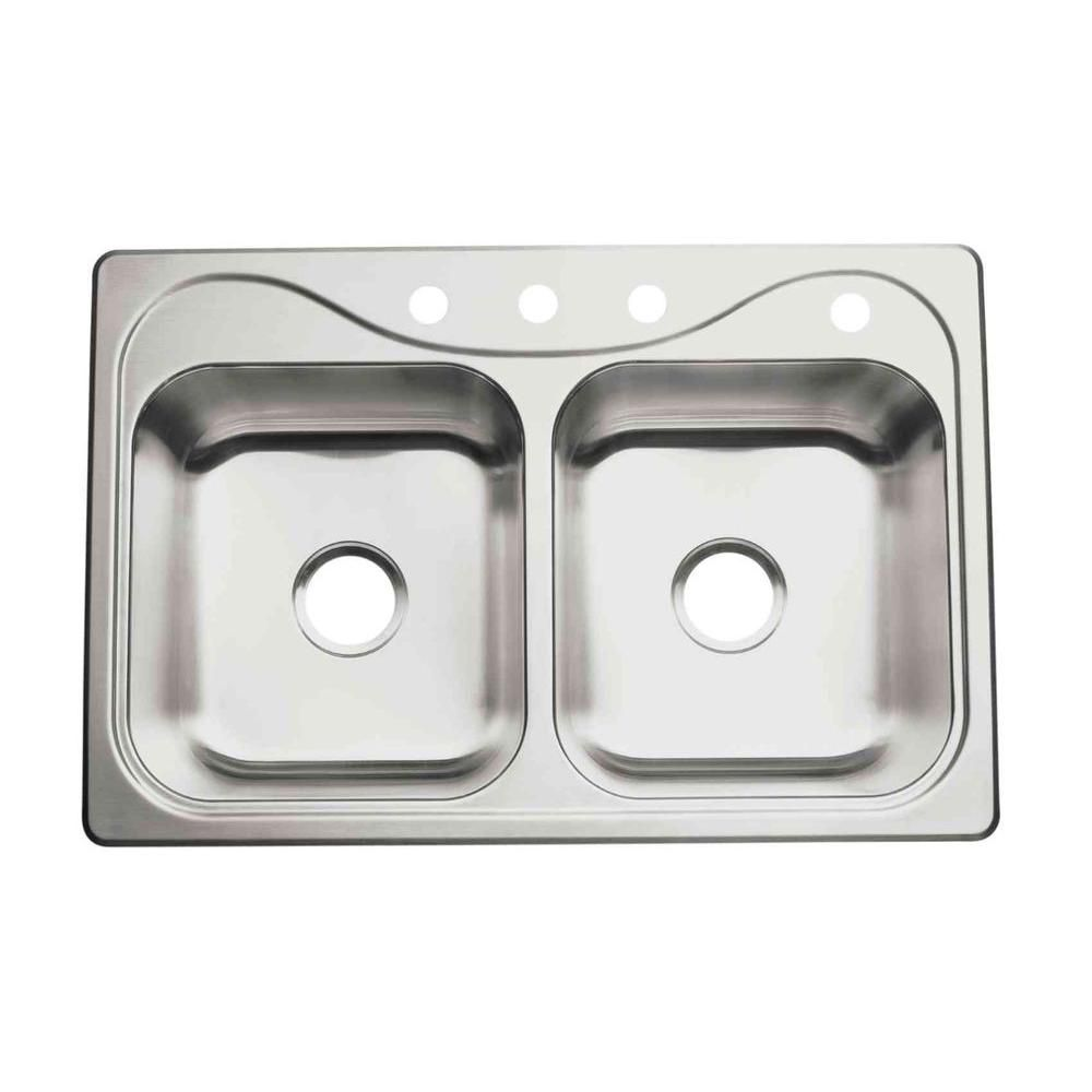 Sterling Southhaven Drop In Stainless Steel 33 In 4 Hole Double Bowl Kitchen Sink 11400 4 Na Sink Double Bowl Sink Drop In Kitchen Sink
