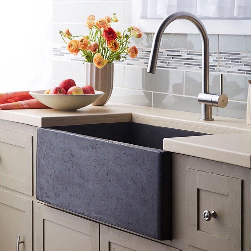 Kitchen Cabinets Island Shelves Cabinetry White Walnut Stone Modern Traditional Rustic Farmhouse: Farmhouse 3018 NativeStone Apron-Front Kitchen Sink