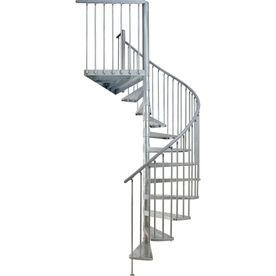 Dolle Toronto 61 In X 9 Ft Galvanized Grey Spiral Staircase Kit | 9 Foot Spiral Staircase | Stair Railing | Mylen Stairs | Stairway | Stair Parts | Staircase Railings