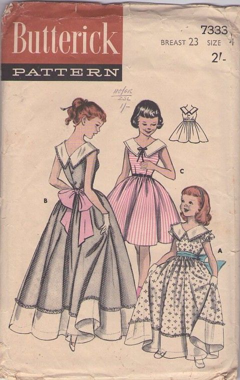 MOMSPatterns #Vintage Sewing Patterns - Butterick 7333 Vintage 50's #Sewing Pattern STUNNING Girls Formal Floor Lengths Gala Ball Gown, Full Skirt Party Dress