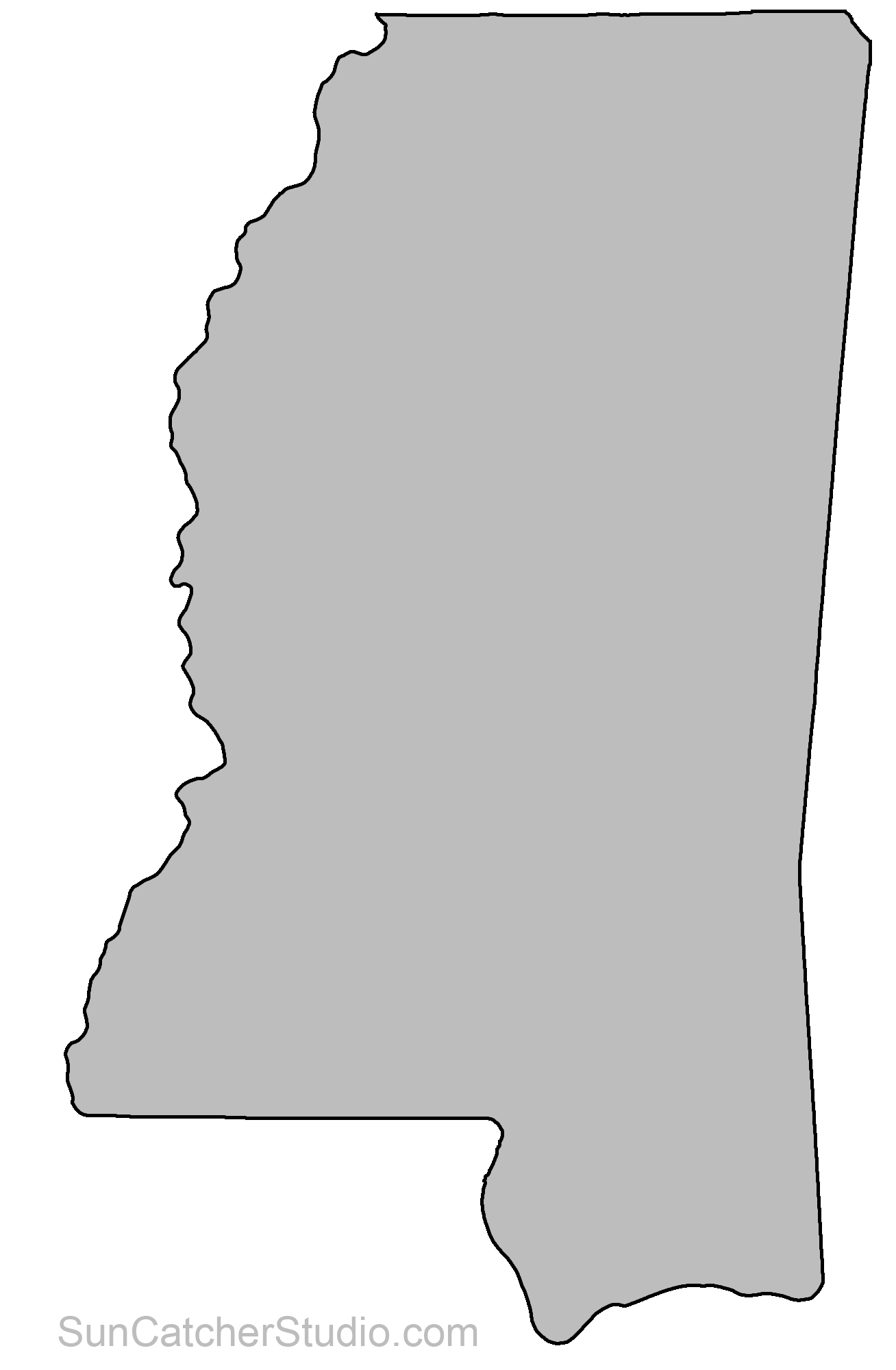 Mississippi Map Outline Printable State Shape Stencil Pattern Scroll Saw Patterns Free State Crafts State Outline