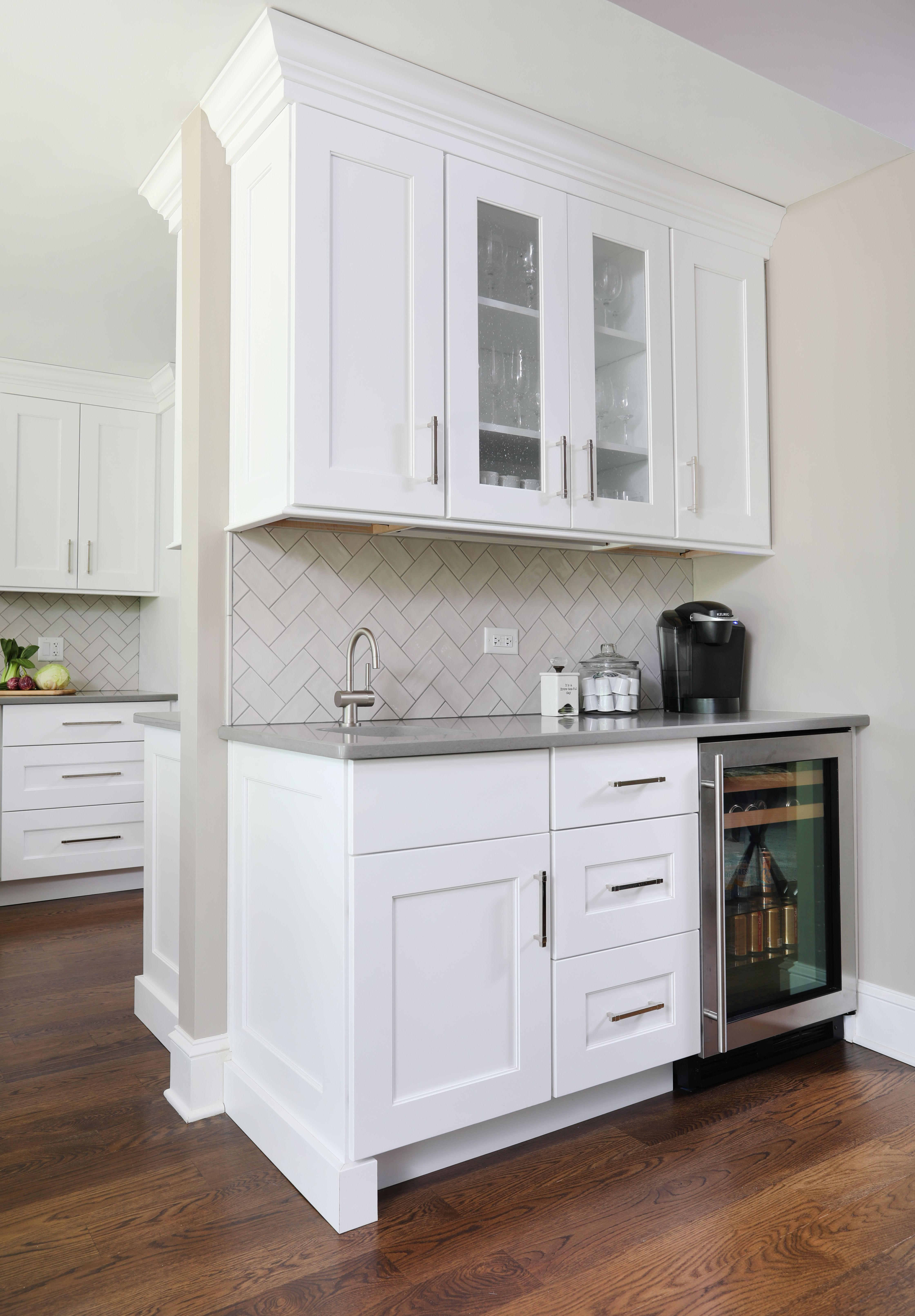 Coffee Bar Ideas Glass Front Cabinets Small Sink Drawers Specialty Storage Small Refrigerator Etc Kitchen Bar Design Coffee Bar Design Coffee Bar