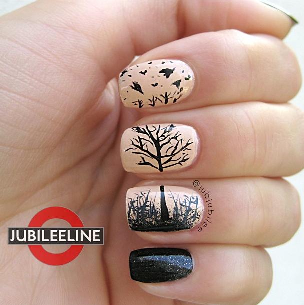 Fall shadow nail art