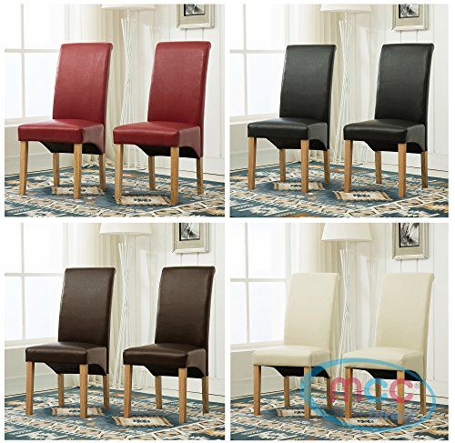 Terrific Set Of 2 Faux Leather Dining Chairs Roll Top Scroll High Machost Co Dining Chair Design Ideas Machostcouk