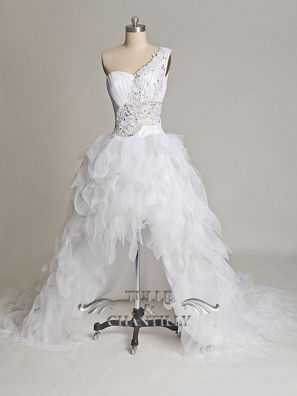 Fabulous One Shoulder High Low Wedding Dress With Feather Shaped Skirt