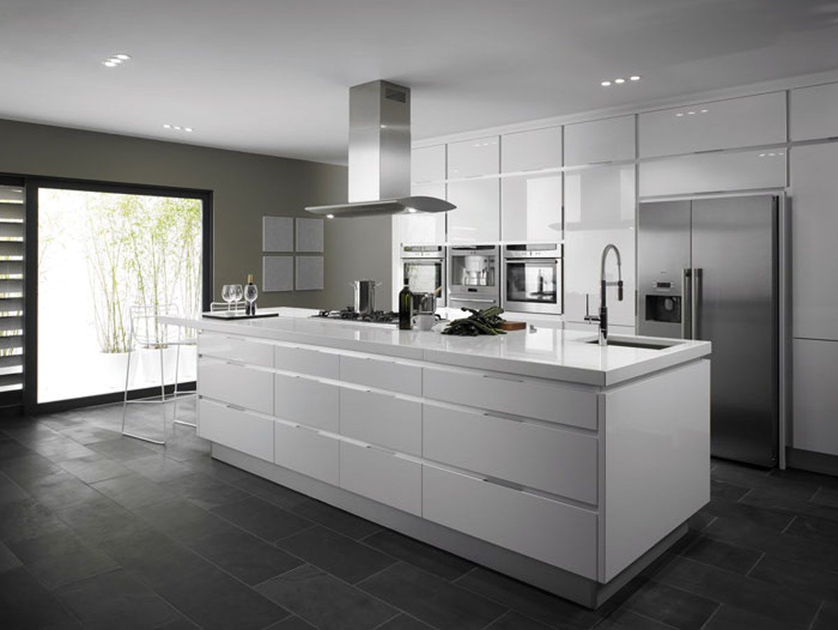 Modern White Kitchens With Wood kitchen inspiration: high gloss white kitchen works well in both