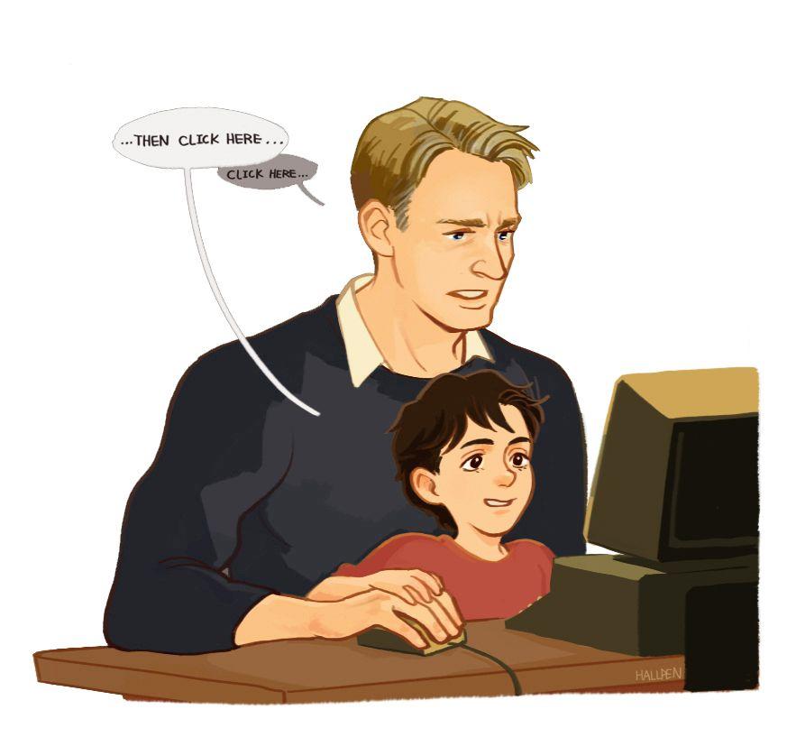 Awww Liddle Peter And Papa Steve Superfamily Avengers Marvel Funny Avengers