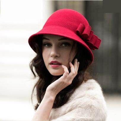 Women/'s Beautiful Wool Cloche Bucket Hat