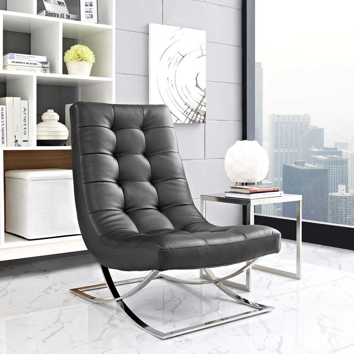 Modway Slope Upholstered Vinyl Lounge Chair - Black  Lounge chair