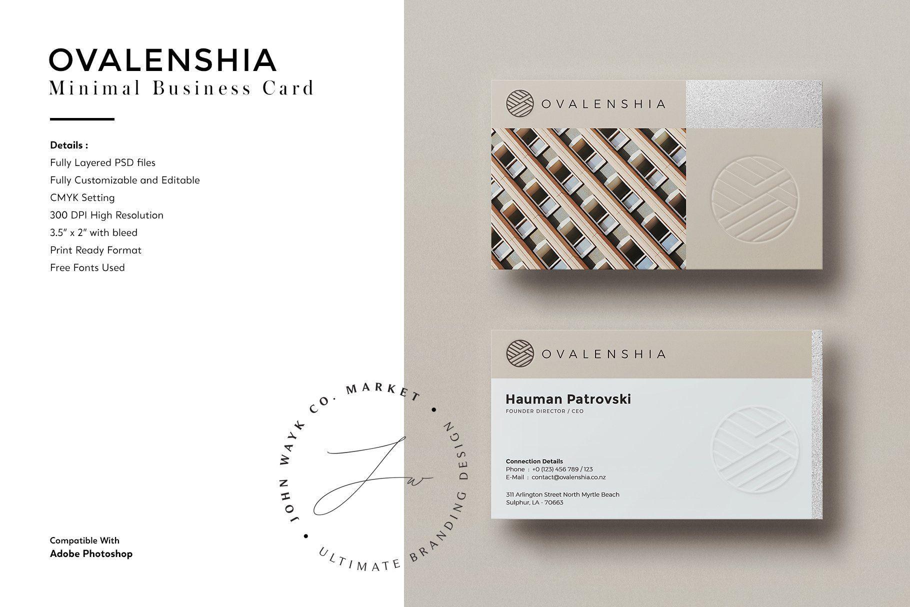 Minimal Business Card Template Minimal Business Card Business Card Template Simple Business Cards