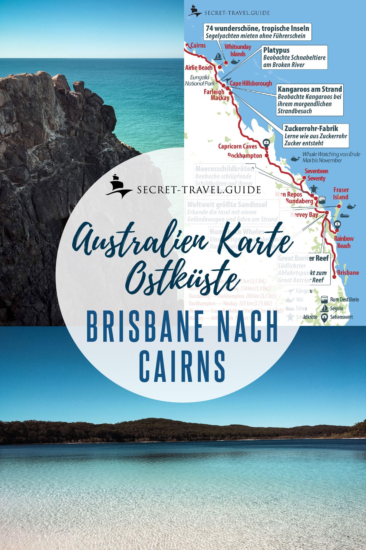 Australien Karten Der Ostkuste Von Brisbane Nach Cairns In 2020 Brisbane To Cairns Beach Trip Australia Map