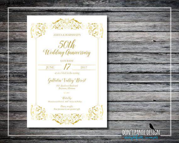 Gold Printable Anniversary Invitation